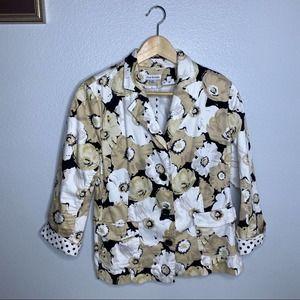 Joan Rivers Floral Beige/Black Jacket 8